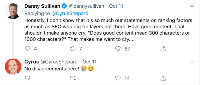 Google algorithm tweet Danny Sullivanfrom